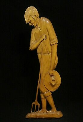 "French Canadian Carved Wood Folk Art ""Weary Farmer"" Figurine- Ferdinand Boucher"