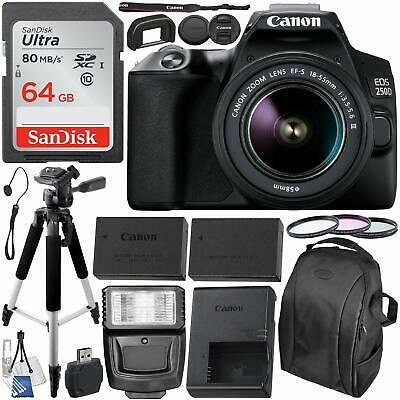 Canon EOS 250D (Rebel SL3) DSLR Camera with 18-55mm Lens & Accessories