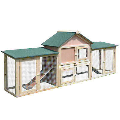 Outdoor Patio Wooden Rabbit Hutch Bunny House W/ Run Ladder Natural Wood Colour