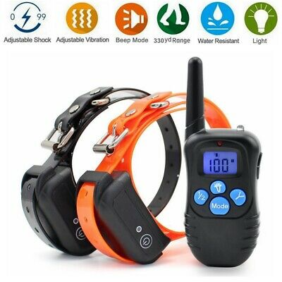 1/2 Dog Shock Collar 1000ft Remote Anti Bark Training Waterproof Rechargeable