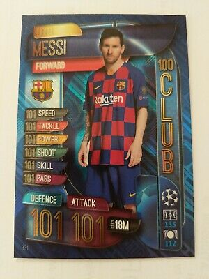 Match Attax 19/20 Champions / Europa League Lionel Messi 101 Hundred Club Card