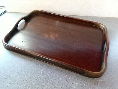 Antique Vintage Art Deco Oak Wood and  Copper Corners Butlers Serving Tray