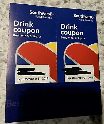 Southwest Airlines Drink Coupons (2) Exp 12/31/19