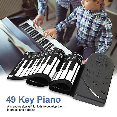 Kids Portable 49-Key Flexible Silicone Roll Up Piano Electronic Keyboard Black
