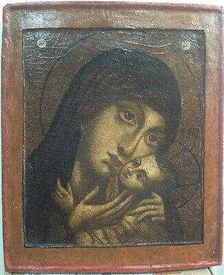 """Antique 18c Russian Hand Painted Wood Icon """"Kasperovskaya Mother of God"""""""