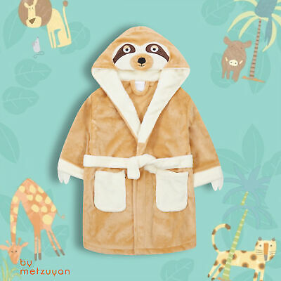 Kids Boys Girls Sloth Beige Hooded Dressing Gown Bathrobe with Hood Animal 3D UK