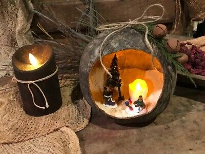 Primitive Gourd Snow Globe Lantern Dried Gourd Early Look Candle Light