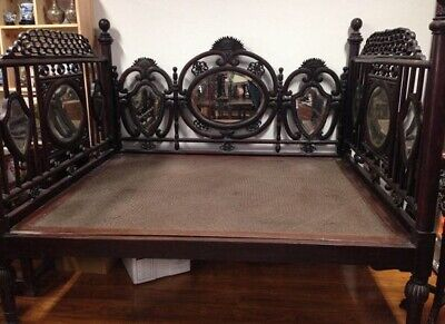 Antique Chinese Bed Carved Rosewood Mirror Furniture China 19Th C.