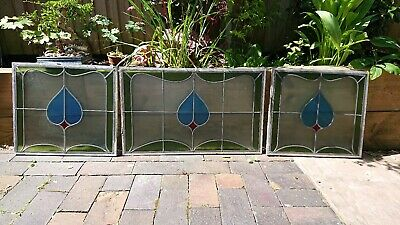 3x Reclaimed vintage stained & leaded glass windows / panels