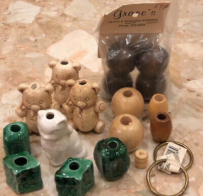 Ceramic Macrame Beads Cat Teddy Green Asymmetrical Wood Vintage Painted Crafted
