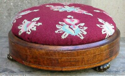 Antique Georgian Footstool Marble Feet Powis & Co Berlin Beaded Pettipoint 11""