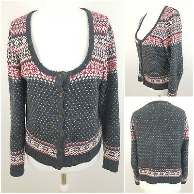Fat Face Womens Christmas Dark Grey Jumper Cardigan with Cotton Size 12 Xmas