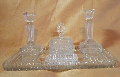 Beautiful, Art Deco clear glass dressing table set. Immaculate, stunning, solid.