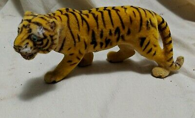 Vintage Antique Large Flocked Felt Toy TIGER West Germany FREE SHIPPING