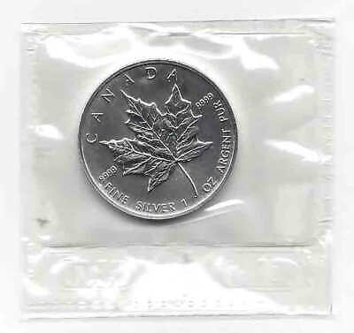 UNCIRCULATED 1999 Canada Silver $5 Maple Leaf 0.9999 Fine Silver 1 oz