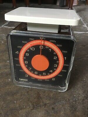 Hanson vintage retro weighing scales small kitchen brown orange 5kg 10 pound 60s