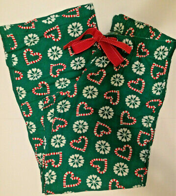 Old Navy Flannel Pajama Sleep Lounge PJ Pants Green Snowflakes Candy Canes Small