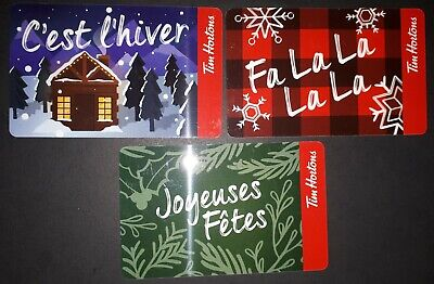 Lot 3 different Tim Hortons  Christmas Holiday Gift cards  2019