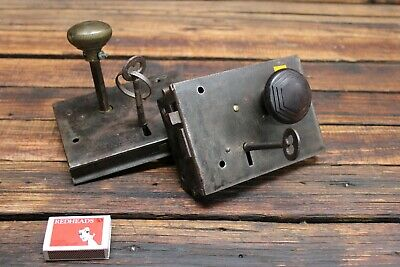 Pair of Vintage Antique Mortise Door Lock And Key Pad Bakelite Knob Brass