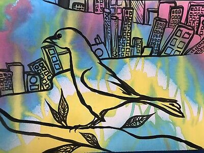 Sienna Mayfair The Rainbow City. Bird Painting A4 Animal Art Original Unique