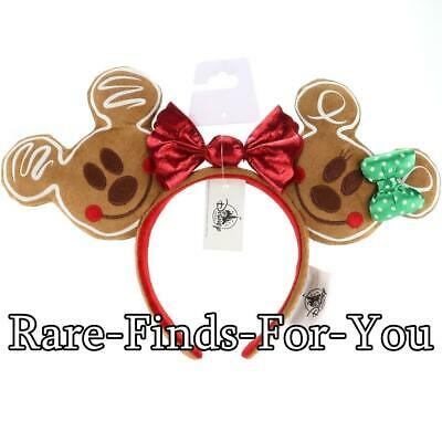 Disney Parks Mickey Minnie Mouse Gingerbread Ears Christmas Holiday Headband NEW