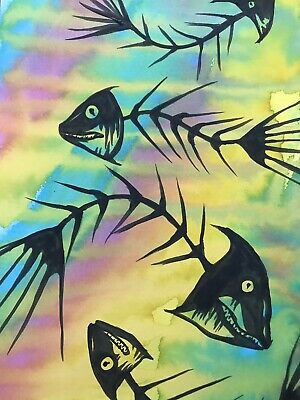 Sienna Mayfair The Death Of The Seasons. Fish Painting A4 Animal Art Original