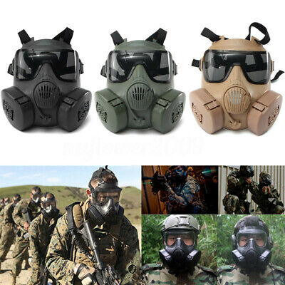 Airsoft M50 Paintball Gas Protective Mask Respirator Full Face With Dual Filters