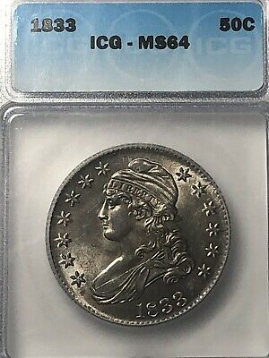 1833 ICG MS64 Capped Bust Half Dollar