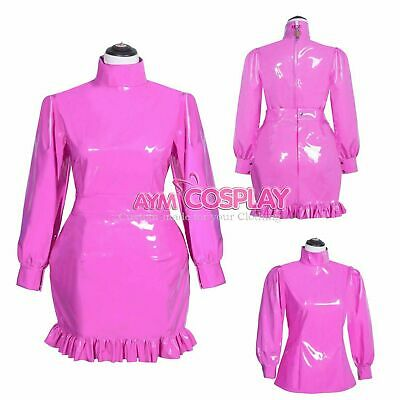 pink PVC lockable Sissy Maid Vinyl dress full-long unisex CD/TV Tailor-made