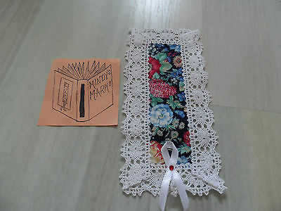 Fabulous Handmade Fabric Navy Blue Floral White Lace Bookmark - Mindy's Marks