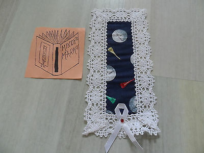 Fabulous Handmade Fabric Navy Blue Golf White Lace Bookmark - Mindy's Marks