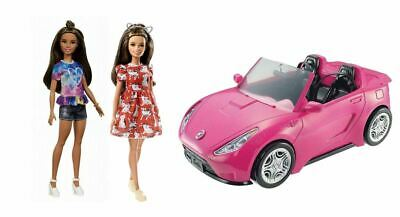 Barbie Glam Convertible Pink Car with Barbie fashionistas 112 and 97