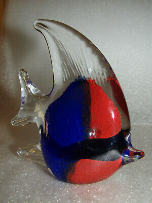 "Angel Fish Blown Glass Paperweight Figurine 4-1/4"" Clear Red & Blue"