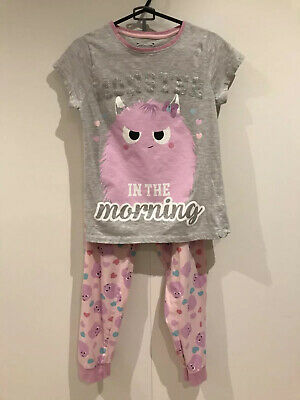 GIRLS PRIMARK MONSTER PARTY PYJAMAS SIZE 11-12 years Worn Once
