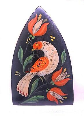 Vintage Cast Iron Hand Painted Toleware Style Sad Iron With Peacock Style Bird