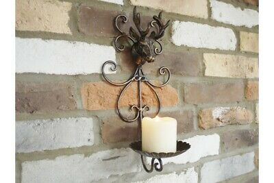 Antique Style Stag Head Candle Holder Rustic Cast Iron Wall Mount Vintage New