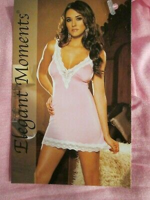 Elegant Moments Stretch Lace And Cotton Nighty Chemise Lounge And Sleep 3 Sizes