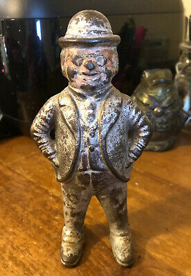 Original Antique Vtg Cast Iron Wing 1900 Hubley 1920 Foxy Grandpa Penny Bank NR