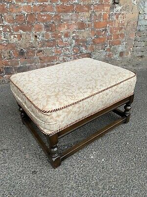 Large Vintage Oak Footstool With Upholstered Cushion - Oak Foot Stool