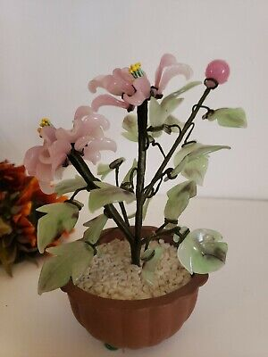 Potted Glass Flower Plant - Green & Pink Glass - Bonsai Style BLOOMING