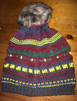 BNWT Baby Fur Pompom Hat Multi 12-24 Months Christmas Stocking by Mothercare