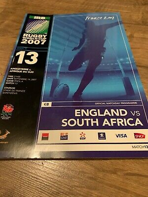 RUGBY WORLD CUP 2007 PROGRAMME RWC2007 England Rugby V South Africa Rugby POOL A
