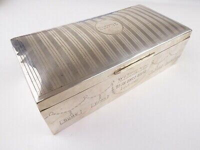 ANTIQUE Art Deco 925 Sterling Silver Birmingham 1919 Cigarette Box Case 227g