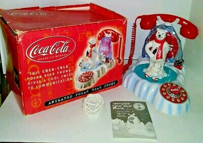 WORKING Coca-Cola Musical Animated Light-Up Polar Bear Telephone Collectible