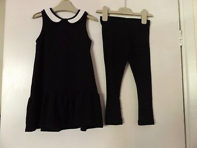 Next girls black and white outfit dress and leggings aged 3 years