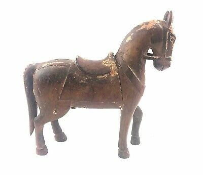 AAFA Antique Carved Wooden Horse Statue Equestrian Figure Wood Folk Art