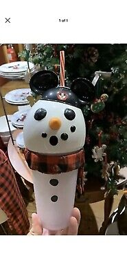 2019 Disney Parks Christmas Holiday Snowman Mickey Hat Light up Sipper Cup NEW