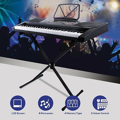61 Key Electronic Keyboard Music Digital Electric Piano Organ with X Stand Black