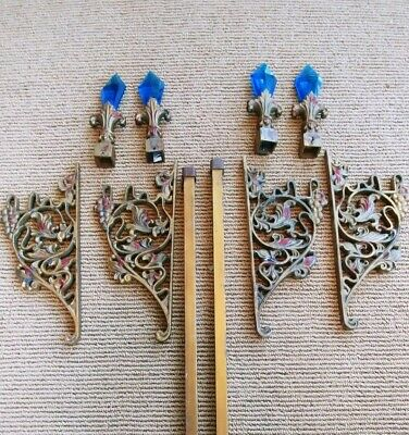 Antique Cast Iron Brackets, Blue Glass Finials & Curtain or Quilt Hanging Rods