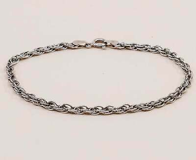 """7"""", 3mm, Vintage sterling silver Italy rope chain bracelet, stamped italy 925"""
